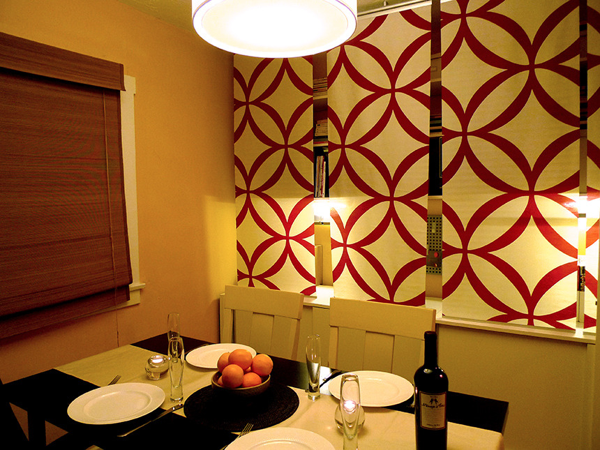 Office by day turned into dining room by night